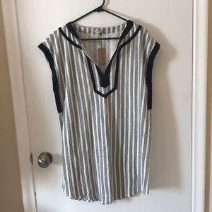 J. Crew Women's black striped tunic coverup